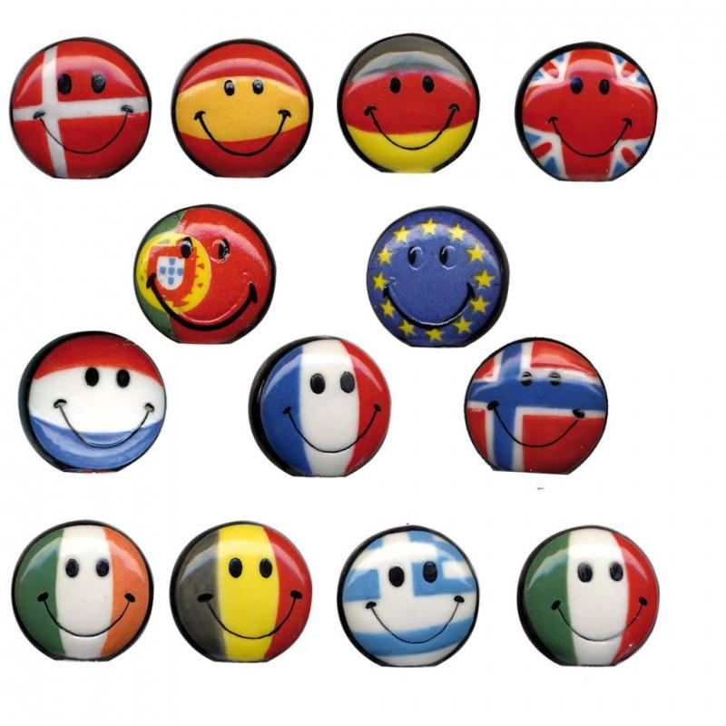 Smiley aux couleurs de l'Europe - Série complète de 13 fèves brillantes - Année 2010
