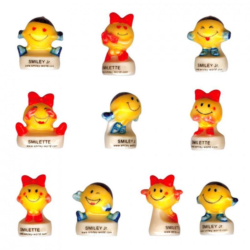 Smiley et Smilette - Série complète de 10 fèves brillantes - Année 2002