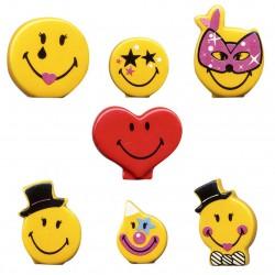 La fête Smiley world - Série complète de 7 fèves brillantes - Année 2013