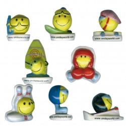 Smiley aux sports - Série complète de 8 fèves brillantes - Année 2007