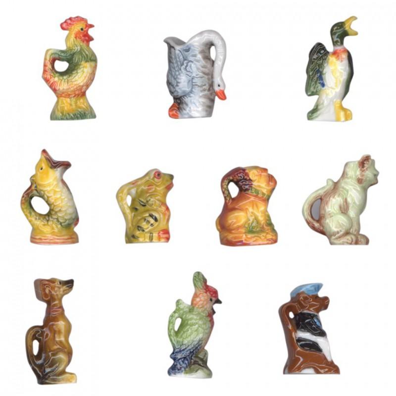Pichets en barbotine - Série complète de 10 fèves brillantes - Année 2008