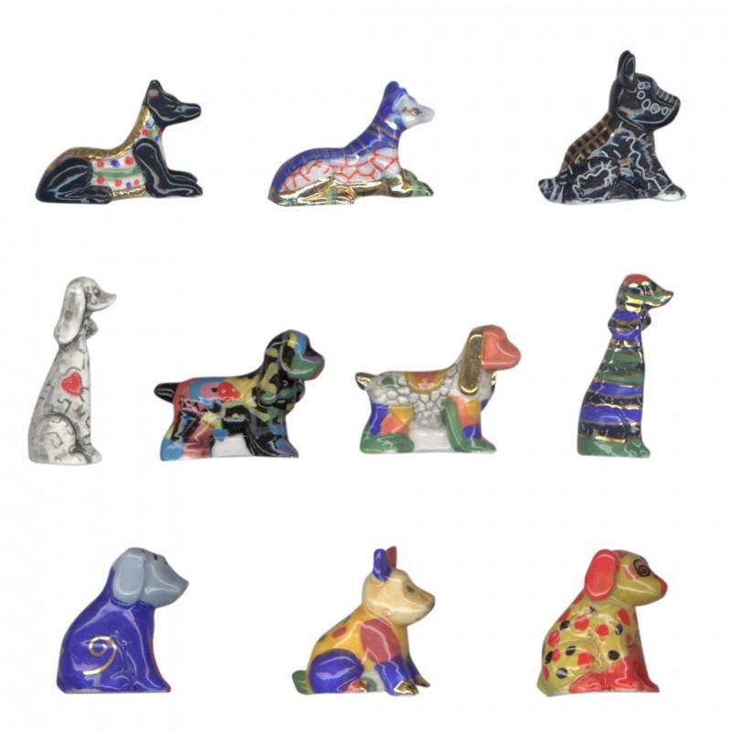Les chiens toucouleurs - Série complète de 10 fèves or/brillantes - Année 2008