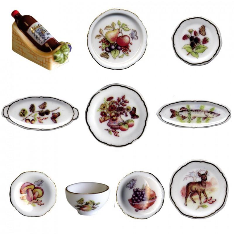 Service de table automnal - Série complète de 10 fèves or/brillantes - Année 2009