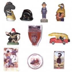 Les pompiers - Série complète de 10 fèves or/platine brillantes - Année 2008