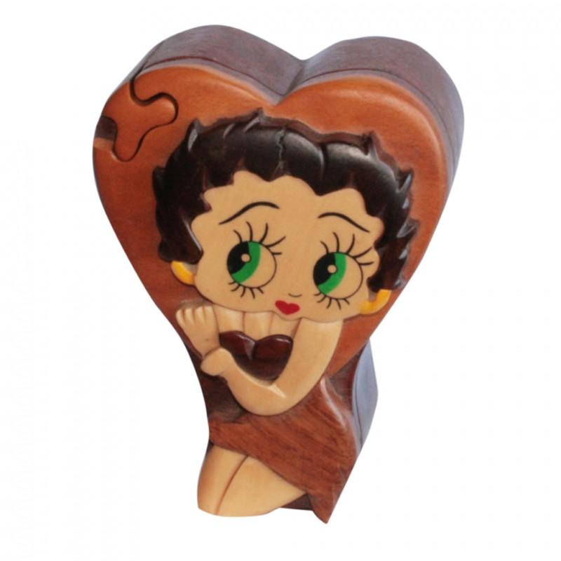 Boîte à secret, représentant Betty Boop, ouverture en forme de puzzle