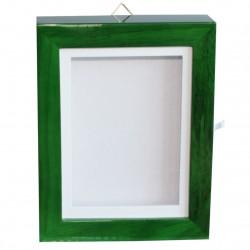 Coffret en bois laqué couleur verte pour rangement de collection fèves