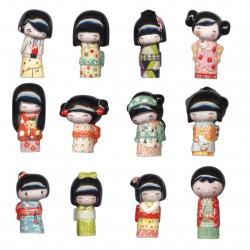 Kokeshi - Série complète de 12 fèves brillantes - Année 2014