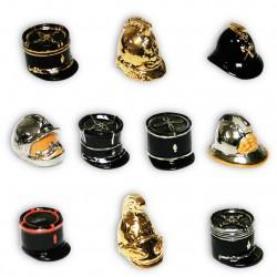 Képis et casques - Série complète de 10 fèves or/platine brillantes - Année 2012