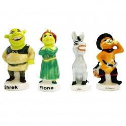 Miniatures 7cm de Shrek, Fiona, l'âne et du chat botté en porcelaine