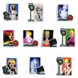 Marylin pop art - Série complète de 10 fèves mates - Année 2013