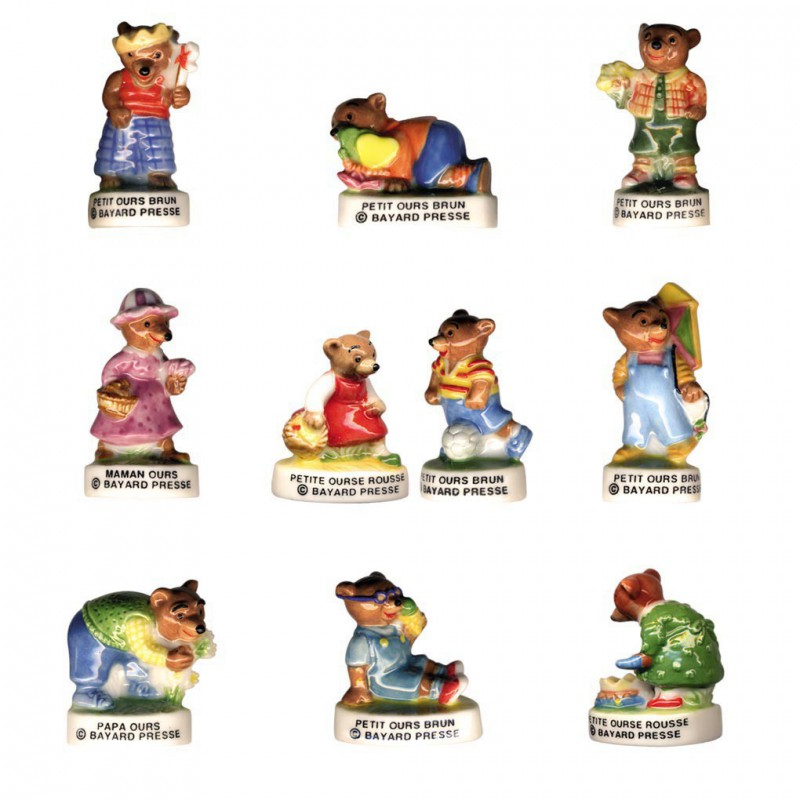 Petit Ours Brun - Série complète de 10 fèves - Année 2005