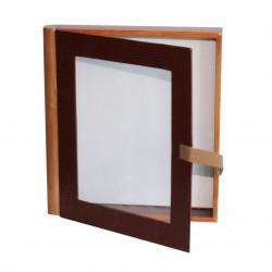 Coffret très original en forme de livre, en bois brun foncé et clair