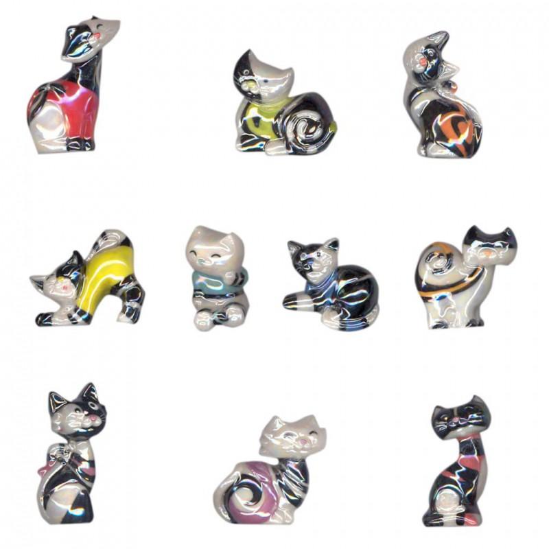 Chats bicolores - Série complète de 10 fèves brillantes - Année 2015