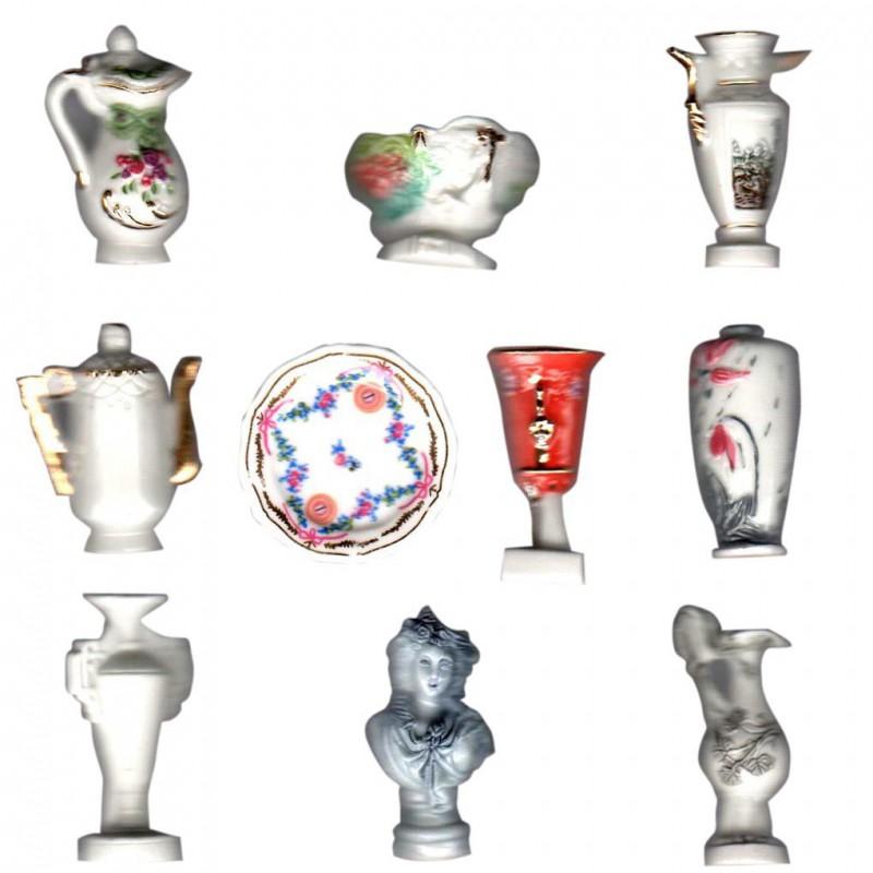 Porcelaine royale - Série complète de 10 fèves or, brillantes et mates - Année 2005