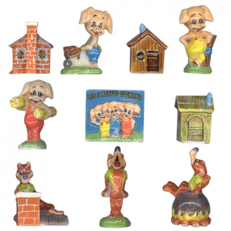 Les 3 petits cochons - Série complète de 10 fèves brillantes - Année 2005