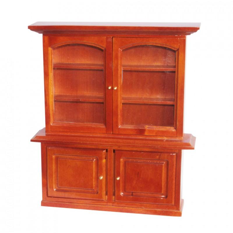 Vaisselier, bois brun, 2 portes vitrées, 2 portes pleines pour fèves