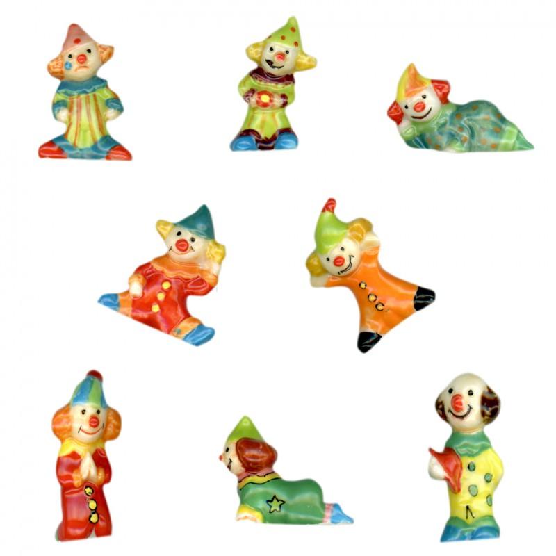 Petits clowns - Série complète de 8 fèves brillantes pour collection