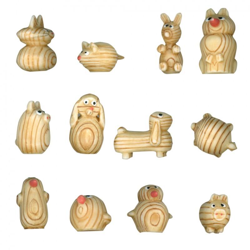 Animaux en bois - Série complète de 12 fèves mates pour collection
