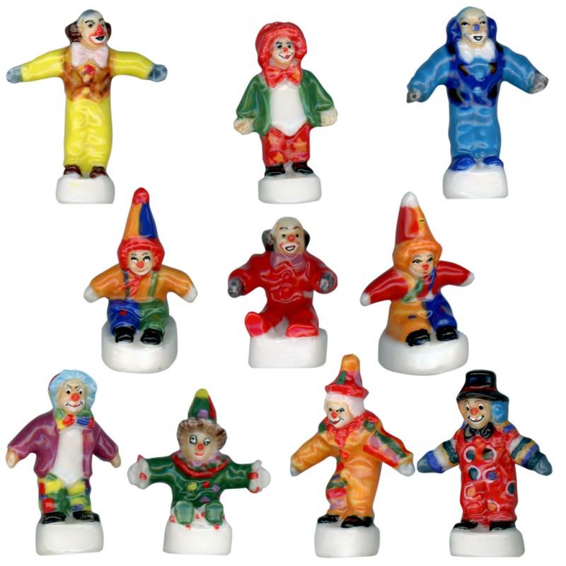 Les clowns rient - Série complète de 10 fèves brillantes pour collection