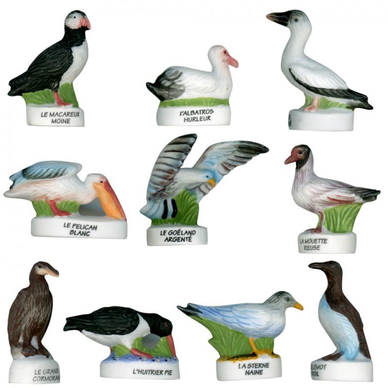 Les oiseaux - Série complète de 10 fèves mates pour collection
