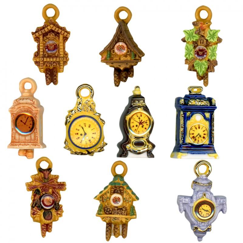 Pendules et coucous - Série complète de 10 fèves or/Mates - Année 2008