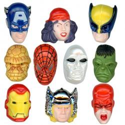 Masques Marvel - Série complète de 10 fèves platine, Brillantes - Année 2011