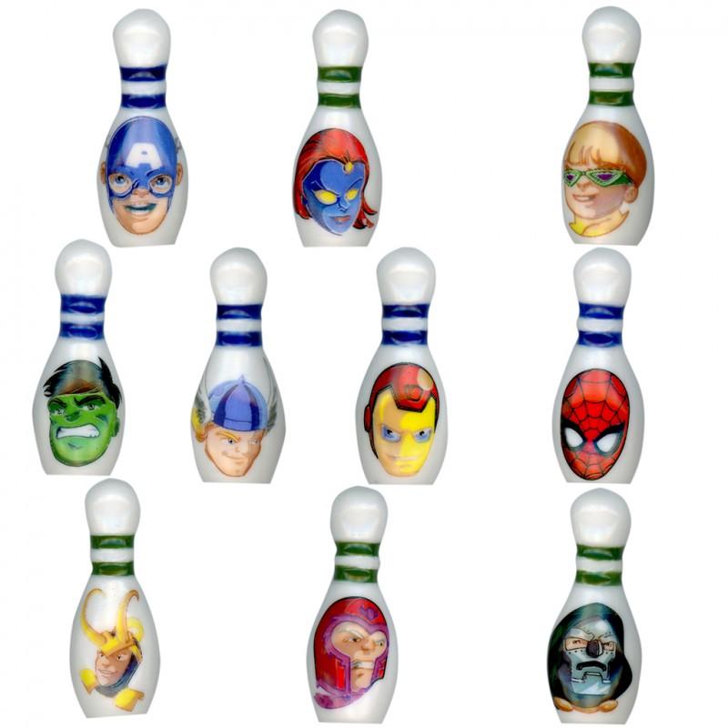 Marvel squad bowling - Série complète de 10 fèves Brillantes - Année 2011