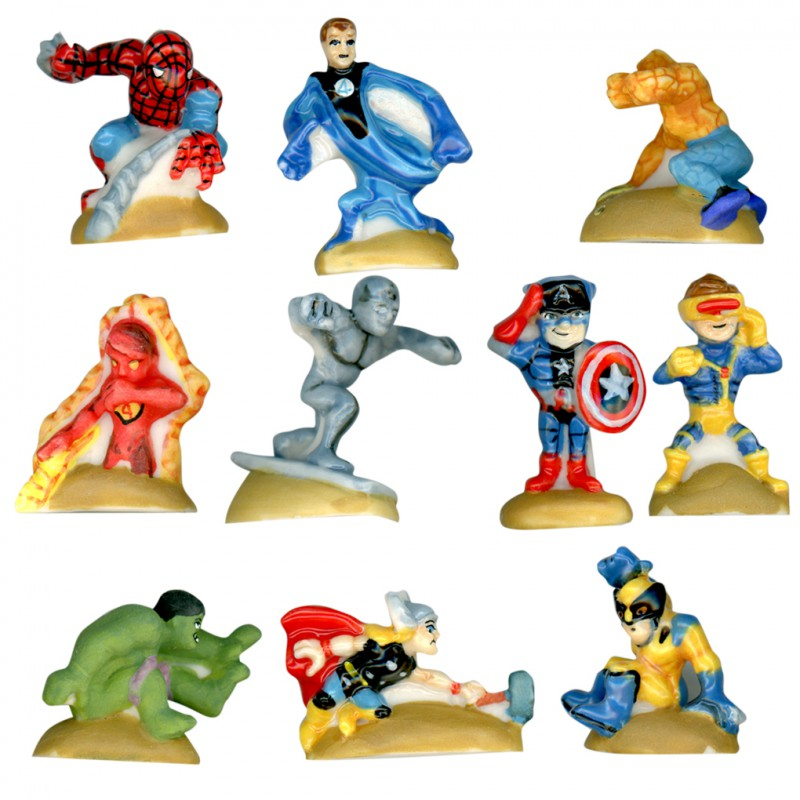 Marvel squad - Série complète de 10 fèves Brillantes et mates - Année 2011