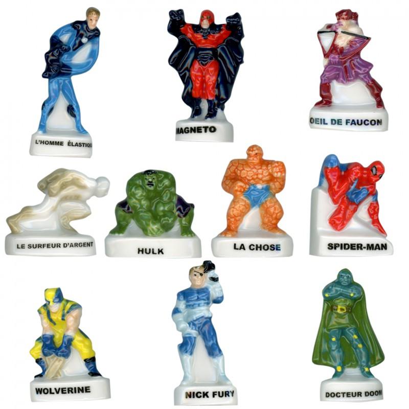 Marvel héros de toujours - Série complète de 10 fèves Brillantes - Année 2012