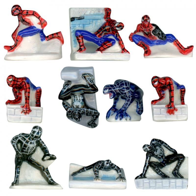 Spiderman des Marvel - Série complète de 10 fèves platine, Brillantes - Année 2010