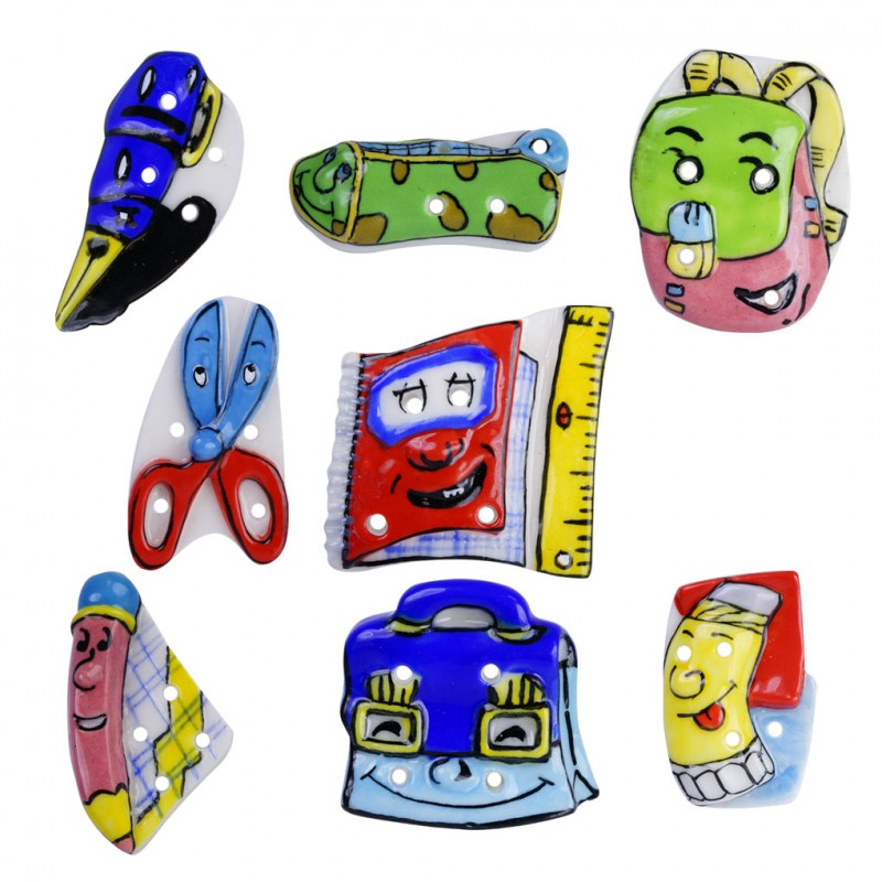 Petits boutons d'écoliers - Série de 8 fèves brillantes - Année 2007