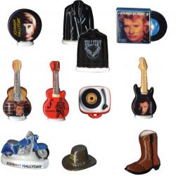 Magnifique série de fèves Johnny Hallyday. Pour tous les collectionneurs fans de l'idole des jeunes !