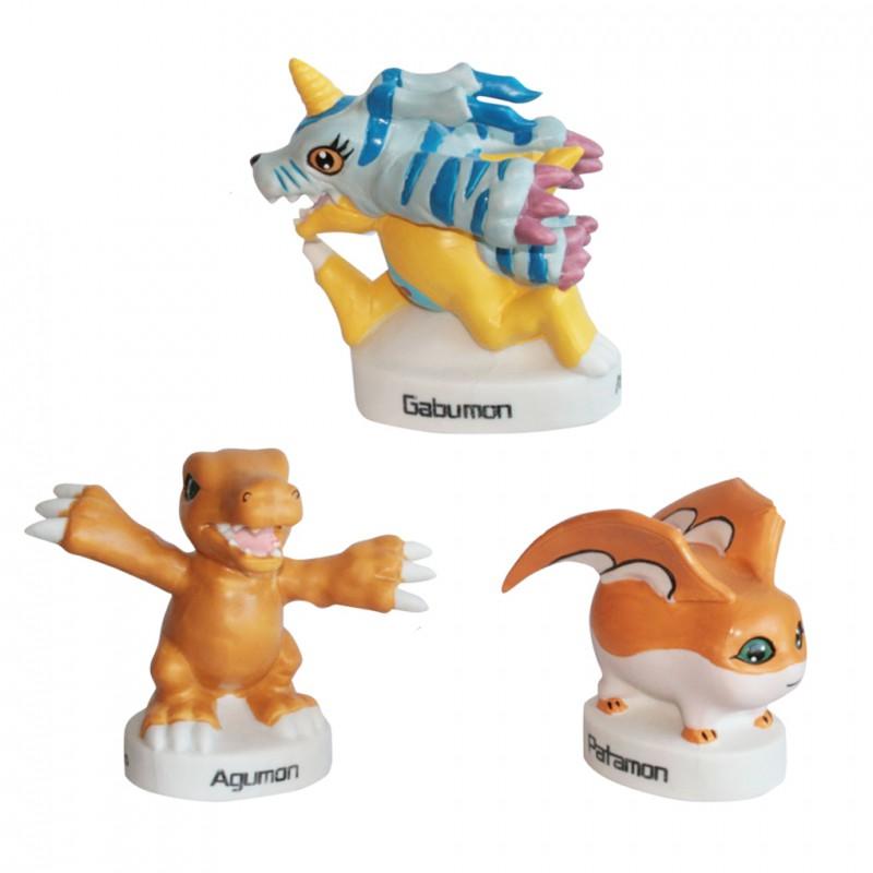 Monstres Digimon - 3 Grands sujets Porcelaine mate peinte à la main