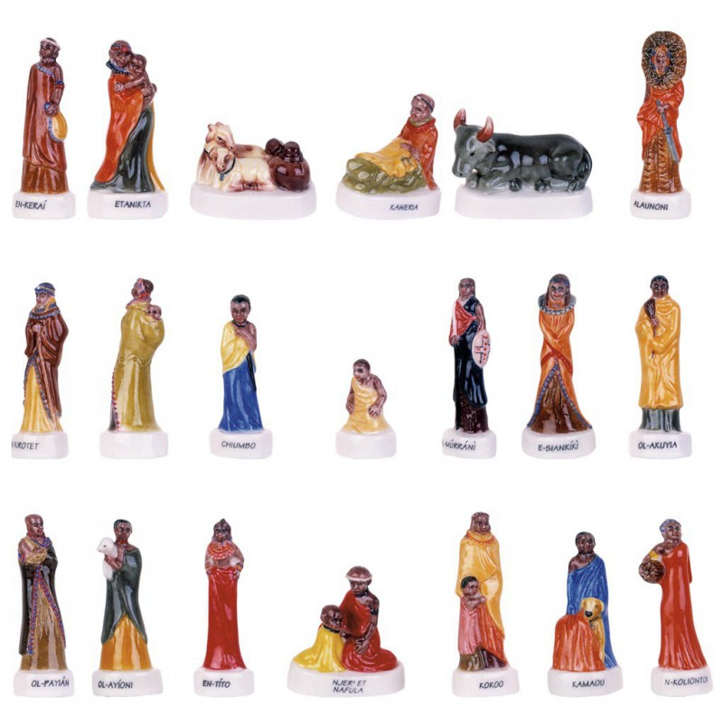 Crèche Maasaï - Série complète de 20 fèves brillantes - Année 2003
