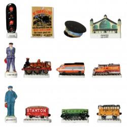 La vie du rail - Série complète de 12 fèves brillantes et mates - Année 2008