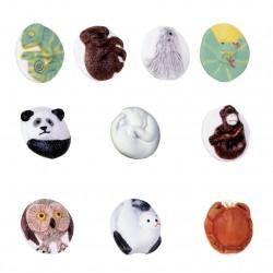 Mon p'tit bouton - Série complète de 10 fèves brillantes & mates - Année 2003