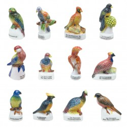 Oiseaux tropicaux - Série complète de 12 fèves brillantes - Année 2005