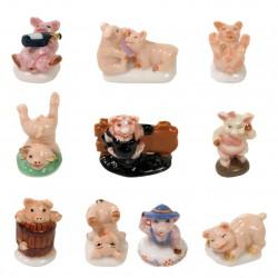 Cochons coquins - Série complète de 10 fèves brillantes - Année 2004