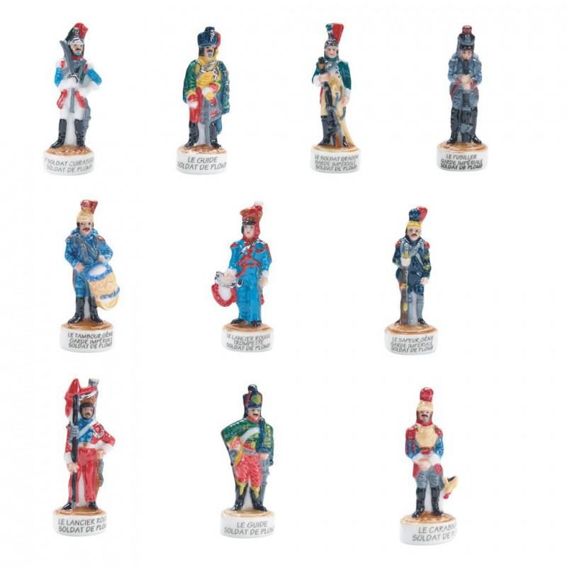Soldats de plomb - Série complète de 10 fèves platines, brillantes - Année 2008