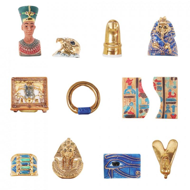 Trésors du Nil - Série complète de 12 fèves or, brillantes - Année 2007