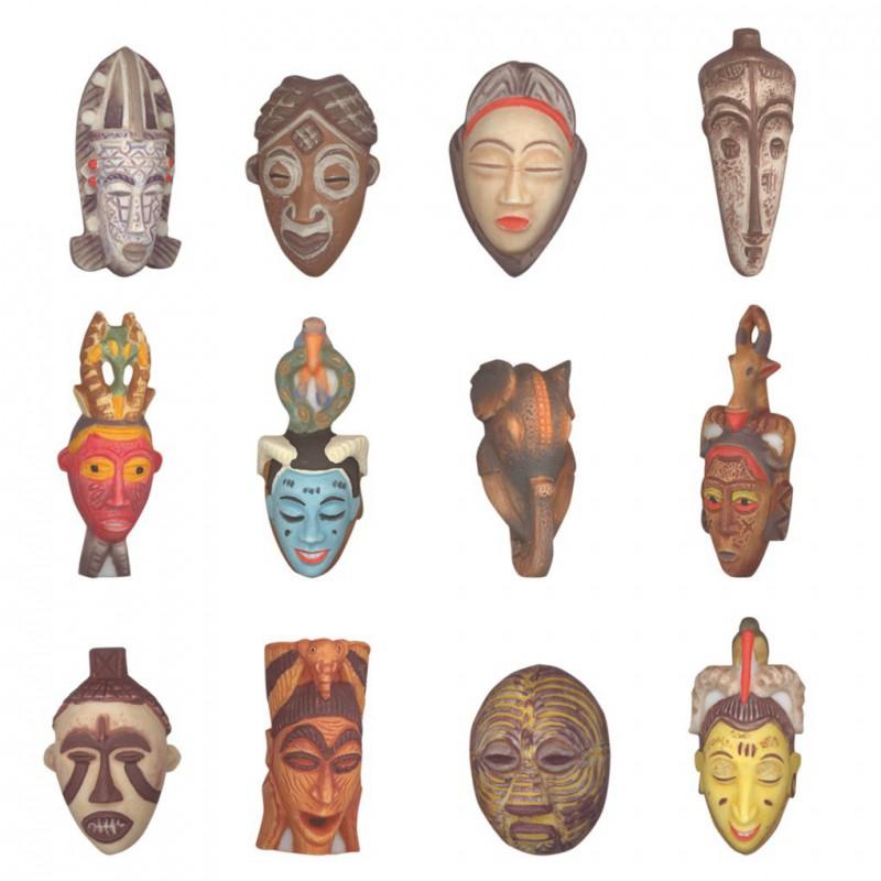 Masques tribals africains - Série complète de 12 fèves mates - Année 2008